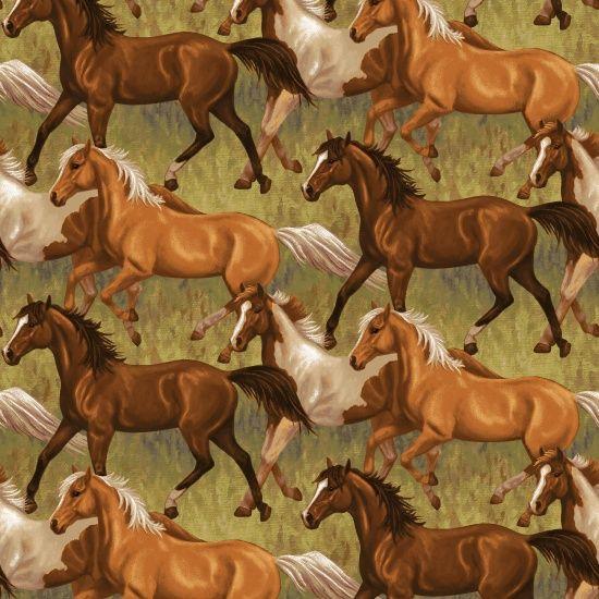 <!--5345-->Studio E - Hold Your Horses - Running Horses, per fat quarters