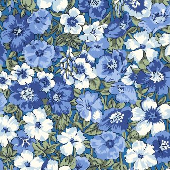 Liberty Of London - Orchard Garden - Peach Bloom in Blue (X), per fat quarter
