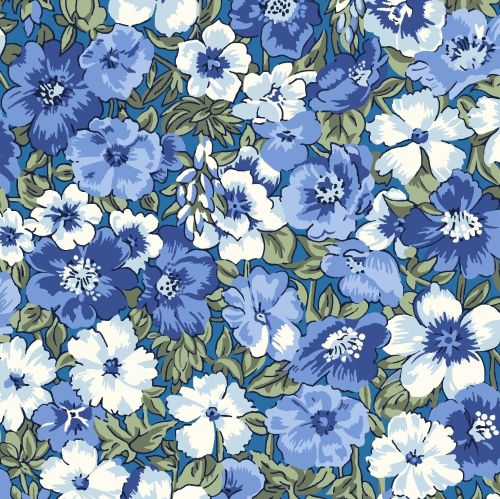 <!--7009-->Liberty Of London - Orchard Garden - Peach Bloom in Blue (X), pe