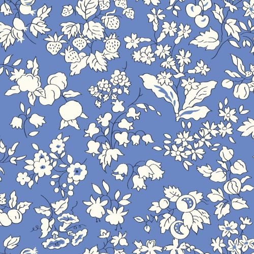 <!--7011-->Liberty Of London - Orchard Garden - Fruit Silouette in Blue (X)