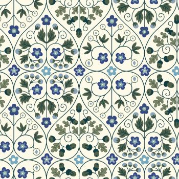 Liberty Of London - Orchard Garden - Garden Gates in Blue (X), per fat quarter