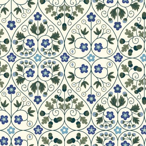<!--7014-->Liberty Of London - Orchard Garden - Garden Gates in Blue (X), p