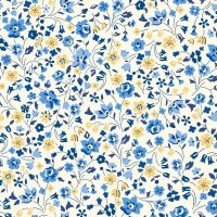 <!--7017-->Liberty Of London - Orchard Garden - Kimberley &amp; Sarah in Blue (x), per fat quarter