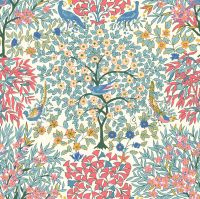 <!--7020-->Liberty Of London - Orchard Garden - Pheasant Forest in Coral Pink (X), per fat quarter