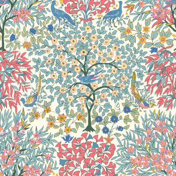 Liberty Of London - Orchard Garden - Pheasant Forest in Coral Pink (X), per fat quarter
