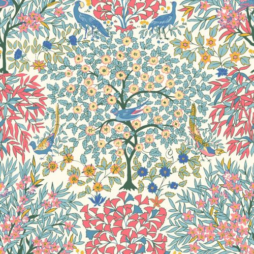 <!--7020-->Liberty Of London - Orchard Garden - Pheasant Forest in Coral Pi