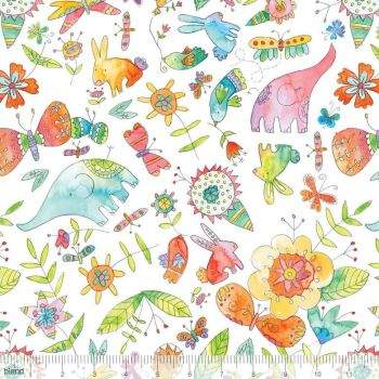 Blend Fabrics - Waltz Of Whimsy - Big Love on White, per fat quarter