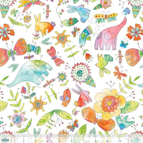 <!--5200-->Blend Fabrics - Waltz Of Whimsy - Big Love on White, per fat qua