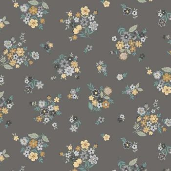 Makower UK - Bloom - Packed Bouquet in Grey, per fat quarter