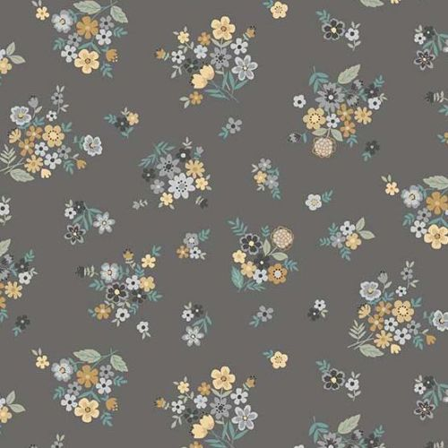 <!--3123b-->Makower UK - Bloom - Packed Bouquet in Grey, per fat quarter