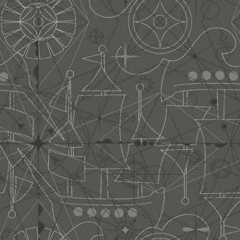 Makower UK - Alison Glass Sun Prints 2018 - Compass Inky in Charcoal, per fat quarter