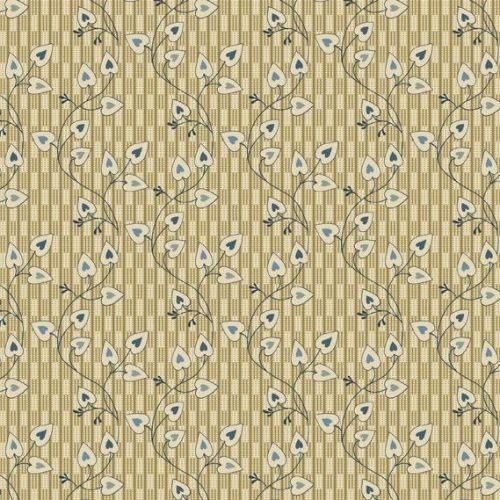 <!--3122-->Makower UK - Blue Sky Heart Leaf in Cream, per fat quarter