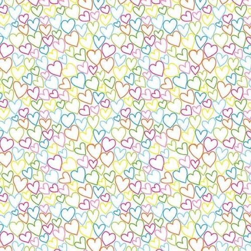 <!--3266-->Makower UK - Ellie Brights - Hearts on White, per fat quarter