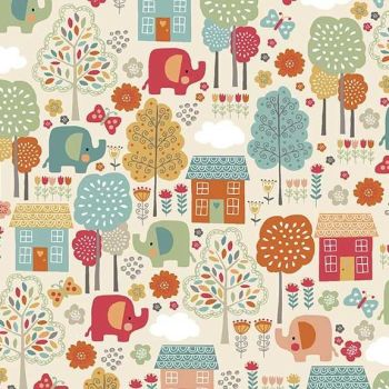 Makower UK - Ellie Cool - Elephant Scenic, per fat quarter