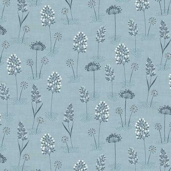 Makower UK - Woodland - Grasses on Blue, per fat quarter