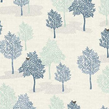 Makower UK - Woodland - Trees Blue, per fat quarter
