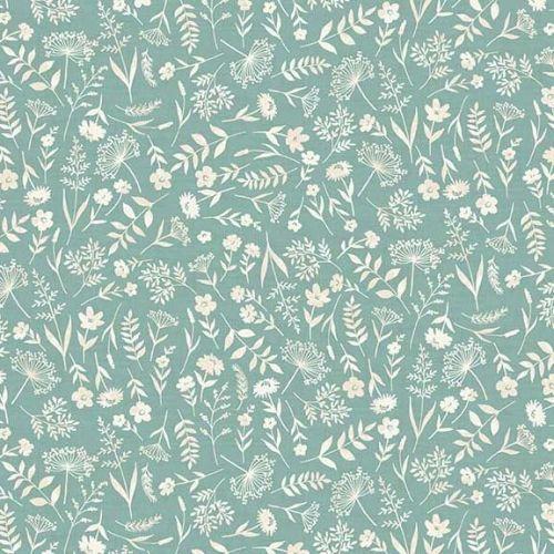 <!--3280-->Makower UK - Woodland - Leaves on Turquoise, per fat quarter