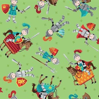 Makower UK - Dragonheart - Knights on Green, per fat quarter