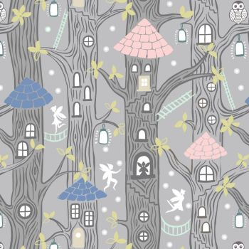Lewis & Irene - Fairy Lights - Fairy Houses Grey (glow in the dark detailing), per fat quarter