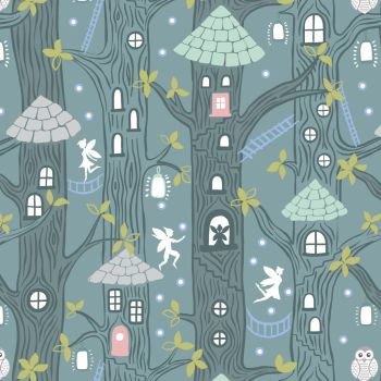Lewis & Irene - Fairy Lights - Fairy Houses Dusk (glow in the dark detailing), per fat quarter