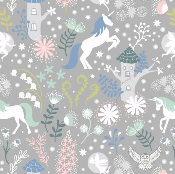 Lewis & Irene - Fairy Lights - Unicorn Forest Grey (glow in the dark detailing), per fat quarter