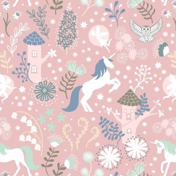 Lewis & Irene - Fairy Lights - Unicorn Forest Pink (glow in the dark detailing), per fat quarter