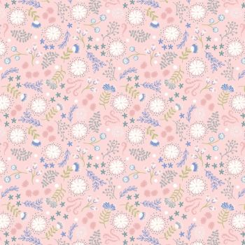 Lewis & Irene - Fairy Lights - Magical Flowers Pink (glow in the dark detailing), per fat quarter