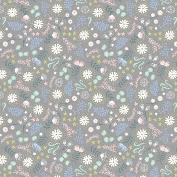 Lewis & Irene - Fairy Lights - Magical Flowers Grey (glow in the dark detailing), per fat quarter