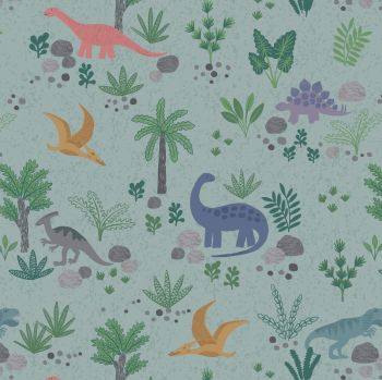 Lewis & Irene - Kimmeridge Bay - Land Dinos on Grey/Green, per fat quarter