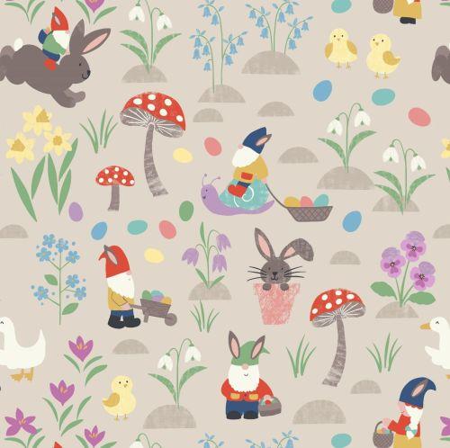 <!--4268-->Lewis & Irene - Jolly Spring - Jolly Egg Hunt on Dark Cream, per