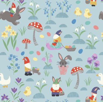 Lewis & Irene - Jolly Spring - Jolly Egg Hunt on Spring Blue, per fat quarter