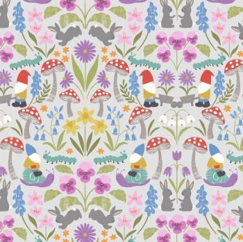 Lewis & Irene - Jolly Spring - Jolly Spring on Light Grey, per fat quarter