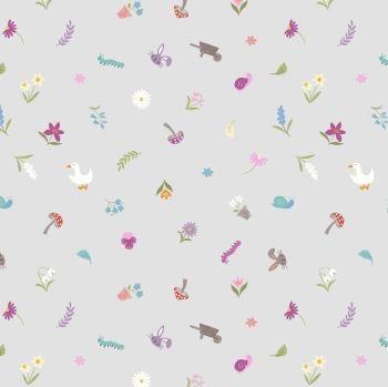 Lewis & Irene - Jolly Spring - Pretty Little Spring on Light Grey, per fat quarter