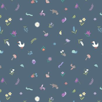 Lewis & Irene - Jolly Spring - Pretty Little Spring on Dark Blue, per fat quarter
