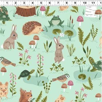 Clothworks - Woodland Wonder - Scenic on Green, per fat quarter