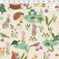 <!--4903-->Clothworks - Woodland Wonder - Scenic on Beige, per fat quarter