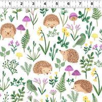 <!--4904-->Clothworks - Woodland Wonder - Hedgehogs on Ivory, per fat quarter