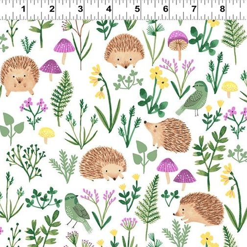 <!--4904-->Clothworks - Woodland Wonder - Hedgehogs on Ivory, per fat quart