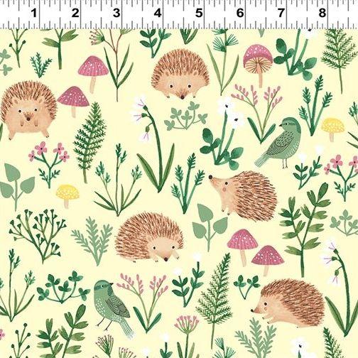 <!--4905-->Clothworks - Woodland Wonder - Hedgehogs on Lemon, per fat quart