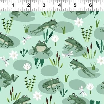Clothworks - Woodland Wonder -Frogs on Green, per fat quarter