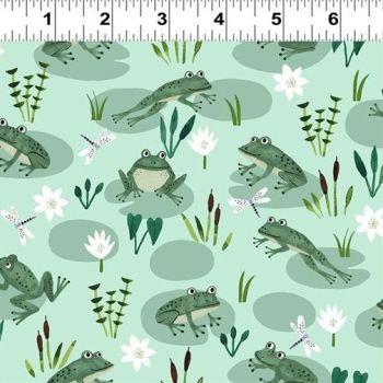 Clothworks - Woodland Wonder -Frogs on Green, per fat quarter