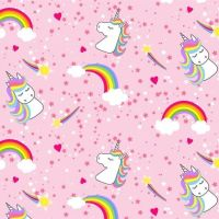 <!--5192-->The Blank Quilting Corporation - Emelias Dreams - Rainbows &amp; Unicorns on Pink, per fat quarter
