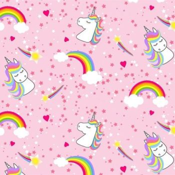 The Blank Quilting Corporation - Emelias Dreams - Rainbows & Unicorns on Pink, per fat quarter