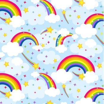 The Blank Quilting Corporation - Emelias Dreams - Rainbows on Blue, per fat quarter