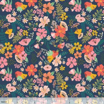 Blend Fabrics - Floral Pets - Gardenara in Navy, per fat quarter