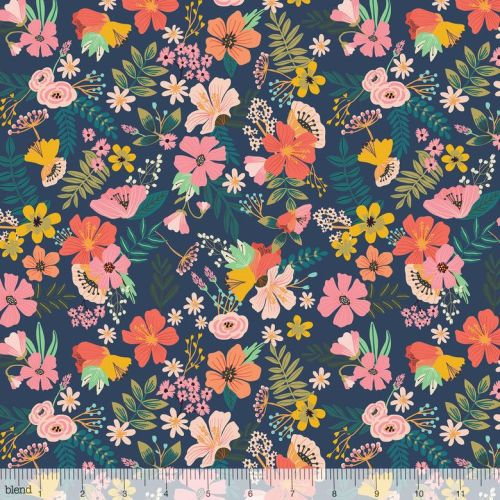 <!--5213-->Blend Fabrics - Floral Pets - Gardenara in Navy, per fat quarter