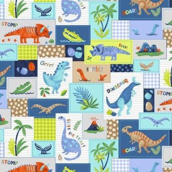Studio E - Hear Me Roar - Patchwork Dinosaurs, per fat quarters
