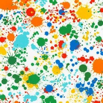 Robert Kaufman - Bright Splatter on White, per fat quarter