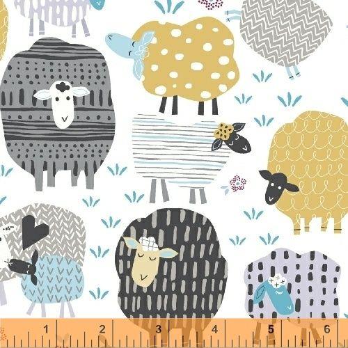 <!--5519-->Windham Fabrics - Bah, Bah, Baby - Sheep On White, per fat quart