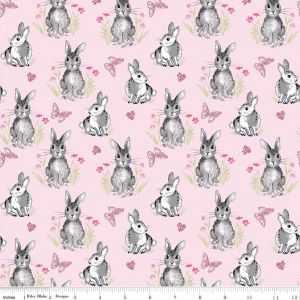 Riley Blake - Novelty Of the Month  - Bunnies on Pink, per fat quarter